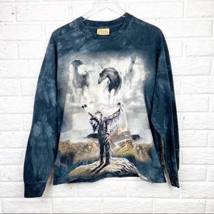 THE MOUNTAIN Long sleeve tee Indian Chief Horses